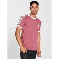 adidas 3 Stripe California T-Shirt, Maroon, Size L, Men