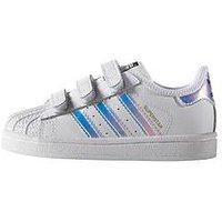 adidas Originals Adidas Originals Superstar Infant Trainer, White/Irredescent, Size 5