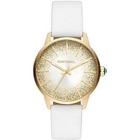Diesel Castilla White Leather Strap Sunray Glitter Effect Dial Ladies Watch, One Colour, Women