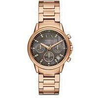 Armani Exchange Armani Exchange ladies watch rose gold tone stainless steel case and bracelet with mother-of-pearl dial, One Col