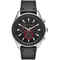 Armani Exchange Stainless Steel Case Black Leather Strap Black Dial with Red Accents Mens Watch, One Colour, Men
