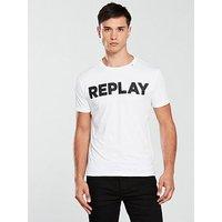 Replay Logo T Shirt, White, Size Xl, Men