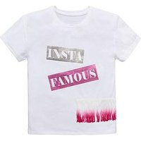 V by Very Girl 'Insta Famous' Slogan Tassel T-shirt, White, Size Age: 8 Years, Women