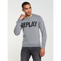Replay Logo Sweatshirt, Melange Grey, Size M, Men