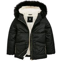V by Very Girls Faux Fur Lined Padded Jacket, Black, Size Age: 16 Years, Women