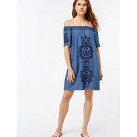 Monsoon Lexi Off The Shoulder Dress - Blue