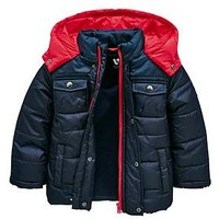 Mini V by Very Boys Contrast Hooded Padded Coat, Navy/Red, Size Age: 18-24 Months