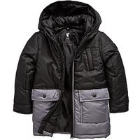 Boys, Mini V by Very Colour Block Hooded Padded Coat, Khaki, Size Age: 9-12 Months