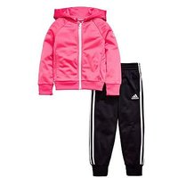 adidas Younger Girls Knit Tracksuit - Pink/Black , Pink, Size 18-24 Months, Women