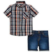Mini V by Very Boys Check Shirt And Denim Short Set - Multi, Multi, Size Age: 2-3 Years