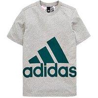 adidas Boys Big Logo Tee - Medium Grey Heather , Medium Grey Heather, Size 7-8 Years