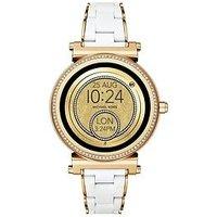 MICHAEL KORS Michael Kors Sofie Gold Tone Pave Bezel Touchscreen Dial White and Gold Bracelet Ladies Smartwatch, One Colour, Wom