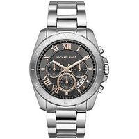 MICHAEL KORS Chronograph Stainless Steel Bracelet, Grey Dial With Rose Gold Accents Mens Watch, One Colour, Men