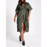 RI Plus Waisted Midi Dress - Khaki, Khaki, Size 22, Women