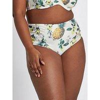 RI Plus Ri Plus High Waisted Pinapple Bikini Briefs, Yellow, Size 28, Women