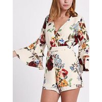 RI Petite Wrapped Ruffle Floral Playsuit - Floral , Cream, Size 6, Women
