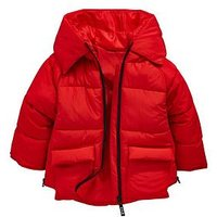 Mini V by Very Girls Red Contrast Zip Padded Hooded Jacket, Red, Size Age: 5-6 Years, Women