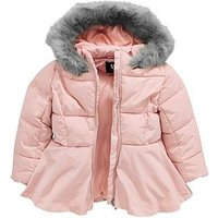 Mini V by Very Girls Fully Padded Pink Peplum Coat, Pink, Size Age: 18-24 Months, Women