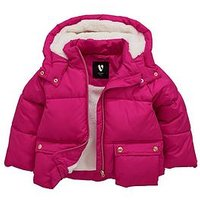 Mini V by Very Girls Cosy Lined Oversized Padded Jacket, Bright Pink, Size Age: 5-6 Years, Women
