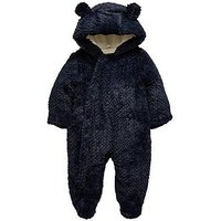 Mini V by Very Baby Boys Textured Faux Fur Cuddle Suit with Integral Mitts Navy, Navy, Size Age(Months): 0-3 Months (14.5Lbs)