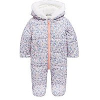 Mini V by Very Baby Girls All Over Print Floral Snowsuit with Integral Mitts, Multi, Size Age(Months): 6-9 Months (20Lbs)