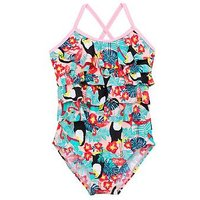 Mini V by Very Girls Toucan Print Ruffle Swimsuit Pink, Pink, Size Age: 9-12 Months, Women