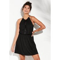 V by Very Shirred Waist Jersey Beach Dress - Black, Black, Size 8, Women