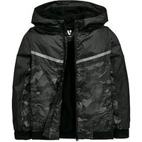 Boys, V by Very Camo Print Fleece Lined Hooded Lightweight Jacket, Black/Camouflage, Size Age: 11 Years