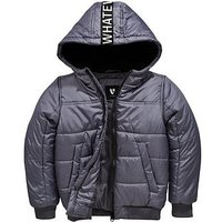 Boys, V by Very Whatever Tape Back Panel Padded Coat, Grey, Size Age: 16 Years