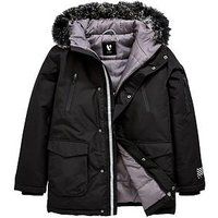 V by Very Boys Faux Fur Trim Hooded Padded Parka, Black, Size Age: 10 Years