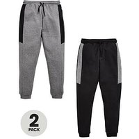 Boys, V by Very 2 Pack Joggers Black/Grey, Black/Grey, Size Age: 6 Years