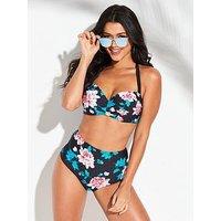 V by Very Shapewear Underwired Bikini Top - Print, Print, Size 32Dd, Women