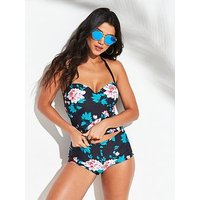 V by Very Shapewear Underwired Tankini Top - Printed, Print, Size 34E, Women