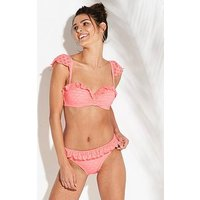 V by Very Broderie Ruffle Edge Bikini Briefs - Coral Pink, Coral Pink, Size 14, Women