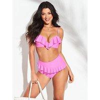 V by Very Shapewear Underwired Sweetheart Ruffle Bikini Top - Pink, Pink, Size 36E, Women