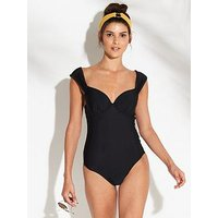 V by Very Off The Shoulder Underwired Cross Over Back Swimsuit - Black, Black, Size 32C, Women