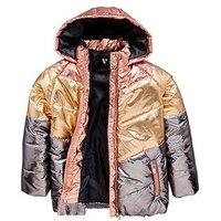 V by Very Girls Colourblock Metalic Padded Coat, Multi, Size Age: 6 Years, Women