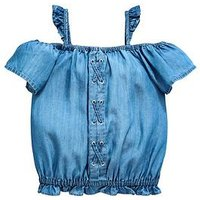 V by Very Girls Cold Shoulder Top, Blue, Size Age: 10 Years, Women