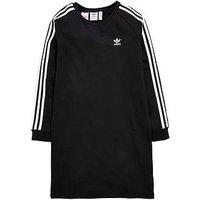 adidas Originals Girls Trefoil Dress - Black, Black, Size 7-8 Years, Women