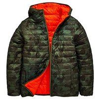 Boys, V by Very Slim Fit Reversible Padded Jacket, Multi, Size Age: 8 Years