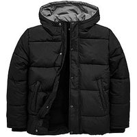 Boys, V by Very Fleece Lined Padded Reflective Hooded Coat, Black, Size Age: 13 Years
