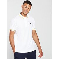 Lacoste Sport Contrast Colour Trim Polo, White/Orange, Size 3, Men