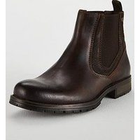Jack & Jones Jack & Jones Carston Leather Chelsea Boots, Brown, Size 6, Men