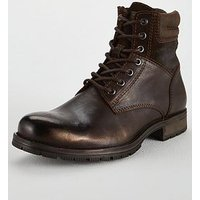 Jack & Jones Jack & Jones Zachary Leather Boots, Brown, Size 8, Men