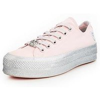 Converse Chuck Taylor X Miley Cyrus All Star Glitter Lift - Pink/Silver , Pink/Silver, Size 5, Women