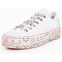 Converse Chuck Taylor X Miley Cyrus All Star Lift - White/Pink, White/Pink, Size 4, Women