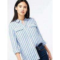 Monsoon Monsoon Serena Yarn Dye Stripe Linen Shirt, Blue, Size 14, Women