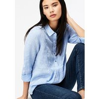 Monsoon Joy Dobby Linen Shirt, Blue, Size 12, Women