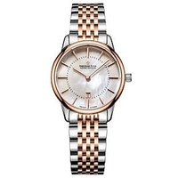 Dreyfuss & Co 1980 White Mother of Pearl Index Date Dial Two Tone Rose Gold Stainless Steel Strap Ladies Watch, One Colour, Wome