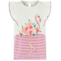 Monsoon Frankie Flamingo Top, Pink, Size Age: 7-8 Years, Women